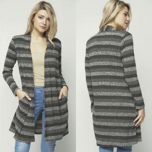 🖤Gray Striped Long Open Cardigan